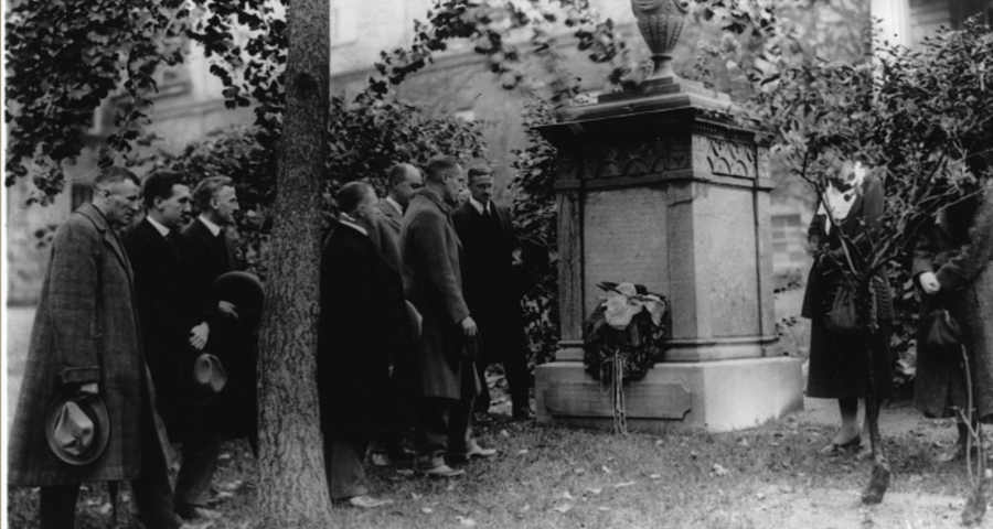 Honouring the Founder, at James McGill's monument, McGill University, Montreal, QC, 1921