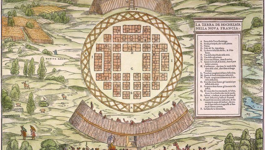 La Terra de Hochelaga Nella Nova Francia (1909), Giacomo Gastaldi, based on an illustration from 1565.